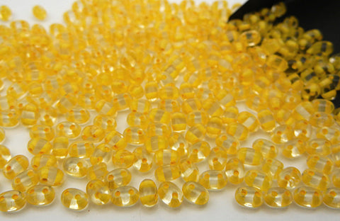 600 Czech 2-hole Duet (Duo/Twin) Glass Seed Beads 2.5x5mm clear Crystal Yellow Lined