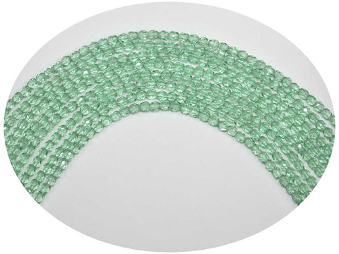 Pale Green, Czech Fire Polished Round Faceted Glass Beads, 4mm, 102 pieces, 16 inch strand