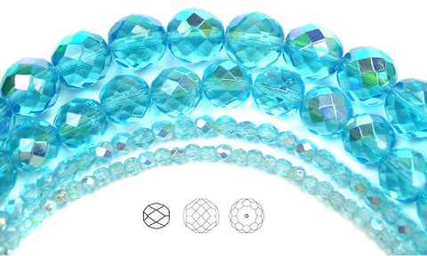 Aqua AB coated, Czech Fire Polished Round Faceted Glass Beads, 16 inch strand, Aquamarine coated with Aurora Borealis