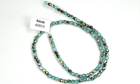 Aqua Vitrail coated, Czech Fire Polished Round Faceted Glass Beads, 16 inch strand