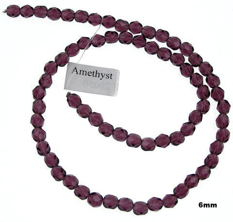 Amethyst, Czech Fire Polished Round Faceted Glass Beads, 16 inch strand