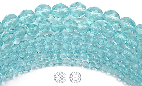 Aqua, loose Czech Fire Polished Round Faceted Glass Beads, light blue