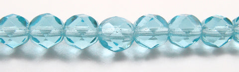 Aqua, Czech Fire Polished Round Faceted Glass Beads, 16 inch strand