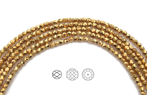 Crystal Aurum 2X fully coated Gold, loose Czech Fire Polished Round Faceted Glass Beads