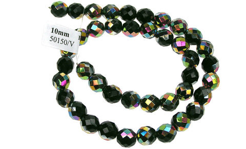 Black Emerald Vitrail coated, Czech Fire Polished Round Faceted Glass Beads, 16 inch strand