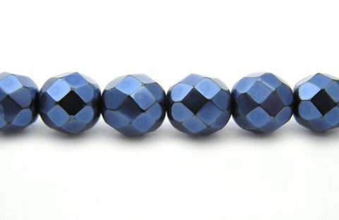 Blue Carmen Metallic Pearl, Czech Fire Polished Round Faceted Glass Beads, Faceted Pearls