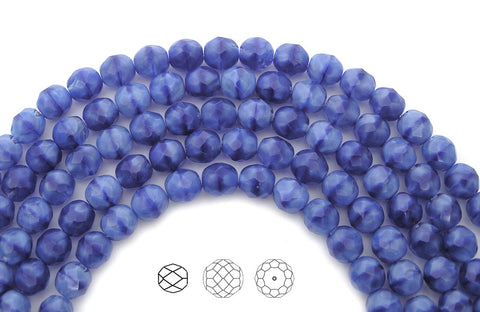 Blue White Givre, 2-tone combination, Czech Fire Polished Round Faceted Glass Beads, 7 inch strands, 8mm 22pcs