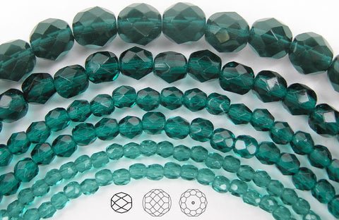 Blue Zircon, Czech Fire Polished Round Faceted Glass Beads, 16 inch strand