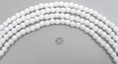 ChalkWhite opaque, loose Czech Fire Polished Round Faceted Glass Beads