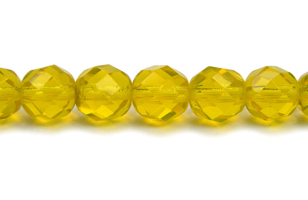 """Czech Fire Polished Round Faceted Beads in Citrine AB coated 16/"""" strand"""