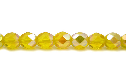 Citrine AB coated, Czech Fire Polished Round Faceted Glass Beads, 16 inch strand