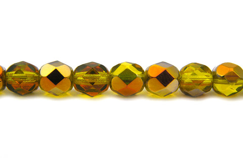 Citrine Santander coated, Czech Fire Polished Round Faceted Glass Beads, 16 inch strand