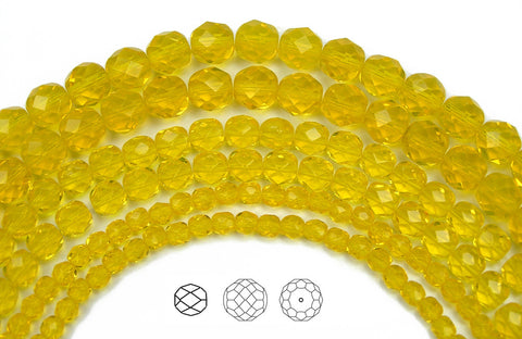 Citrine, loose Czech Fire Polished Round Faceted Glass Beads, rich yellow color