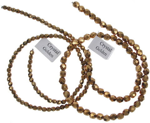 Crystal Golden (Copper), Czech Fire Polished Round Faceted Glass Beads, 16 inch strand