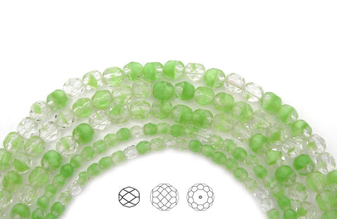 Crystal Light Green Givre, 2-tone combination, Czech Fire Polished Round Faceted Glass Beads