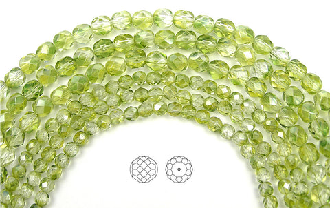 Crystal Limette Luster coated, loose Czech Fire Polished Round Faceted Glass Beads