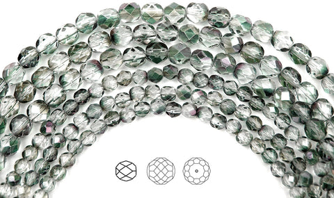 Crystal Mint Shimmer Luster, Czech Fire Polished Round Faceted Glass Beads, 16 inch strand