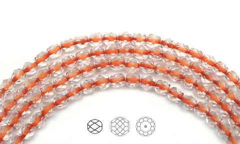 Crystal Orange Lined, Czech Fire Polished Round Faceted Glass Beads, 16 inch strand