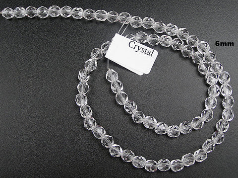 Clear Crystal, Czech Fire Polished Round Faceted Glass Beads, 16 inch strand