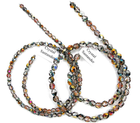 Crystal Santander coated, Czech Fire Polished Round Faceted Glass Beads, 16 inch strand