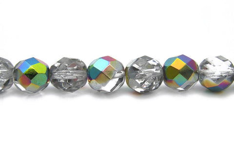 Crystal Vitrail (Medium), Czech Fire Polished Round Faceted Glass Beads, 16 inch strand