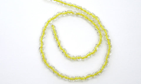 Crystal Yellow Lined, loose Czech Fire Polished Round Faceted Glass Beads (clear crystal with yellow color lining)
