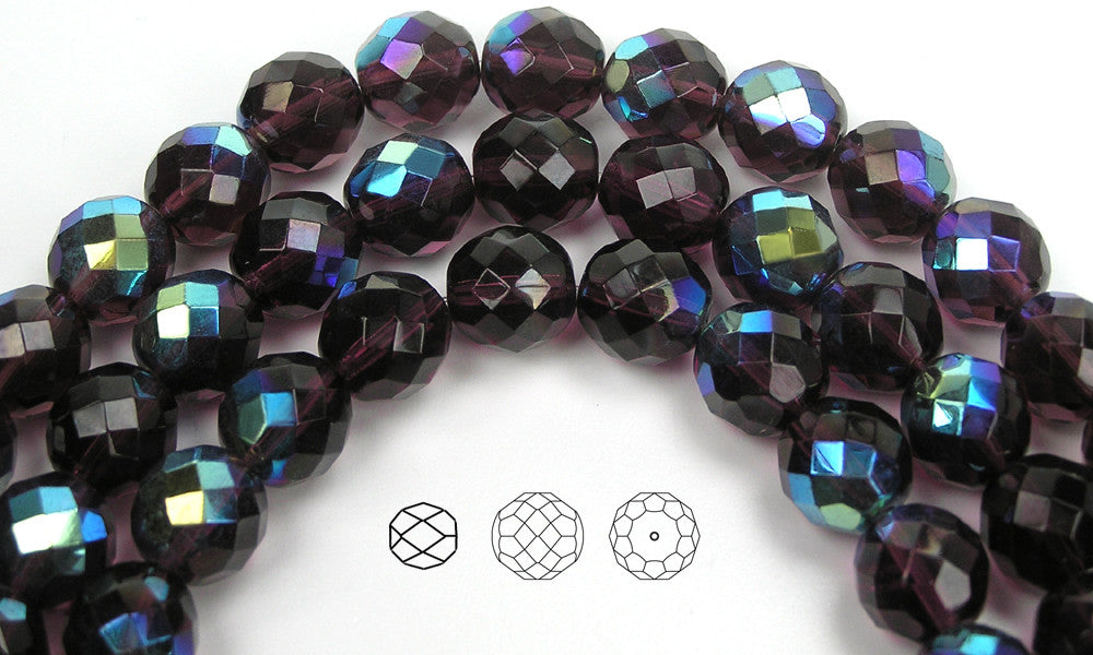 """Czech Fire Polished Round Faceted Glass Beads in Deep Violet 16"""" strand purple"""