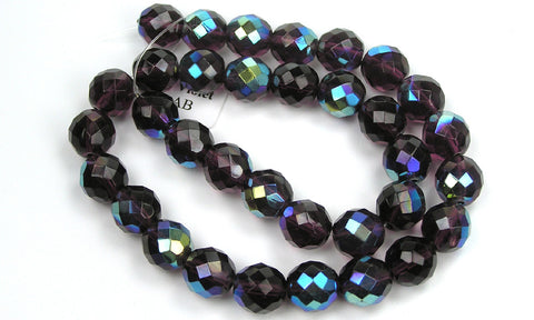 Deep Violet AB coated, Czech Fire Polished Round Faceted Glass Beads, 16 inch strand