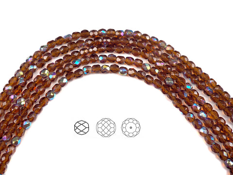 Dark Topaz AB coated, Czech Fire Polished Round Faceted Glass Beads, 16 inch strand