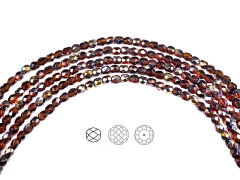 Dark Topaz Santander coated, Czech Fire Polished Round Faceted Glass Beads, 16 inch strand