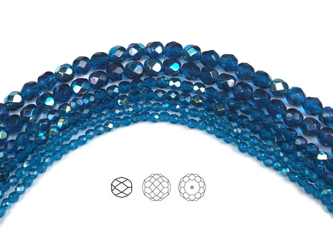 Dark Aqua AB coated, Czech Fire Polished Round Faceted Glass Beads, 16 inch strand, dark blue coated with Aurora Borealis