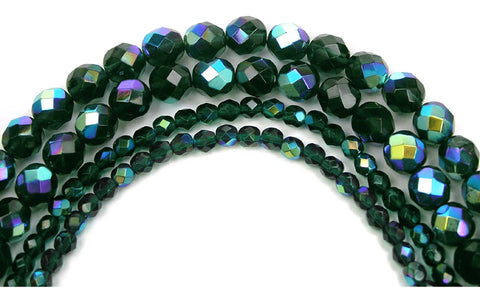 Emerald AB coated, Czech Fire Polished Round Faceted Glass Beads, 16 inch strand