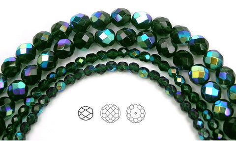 Emerald AB coated, loose Czech Fire Polished Round Faceted Glass Beads