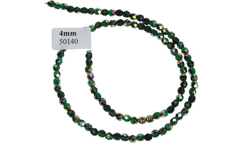 Emerald Vitrail coated, Czech Fire Polished Round Faceted Glass Beads, 16 inch strand
