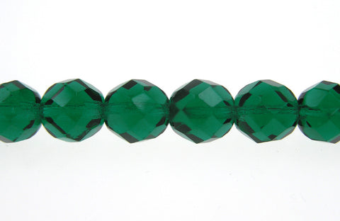 Emerald green, Czech Fire Polished Round Faceted Glass Beads, 16 inch strand