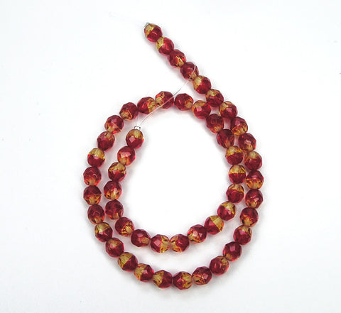 FireOpal 2-tone, Czech Fire Polished Round Faceted Glass Beads, 16 inch strand