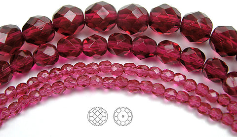 Fuchsia, loose Czech Fire Polished Round Faceted Glass Beads, hot pink