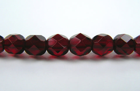 Garnet, Czech Fire Polished Round Faceted Glass Beads, 16 inch strand