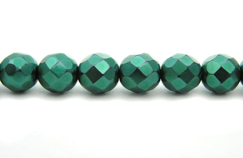 Green Carmen Metallic Pearl, Czech Fire Polished Round Faceted Glass Beads, Faceted Pearls