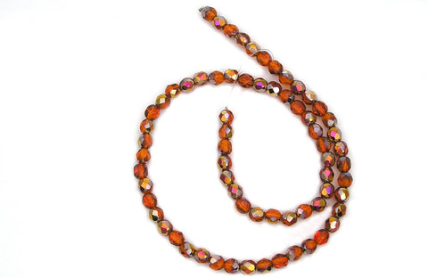 Indian Red Santander coated, Czech Fire Polished Round Faceted Glass Beads, 16 inch strand