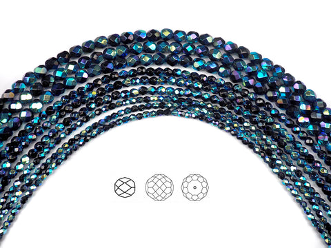 Jet AB2X fully coated, Czech Fire Polished Round Faceted Glass Beads, 16 inch strand