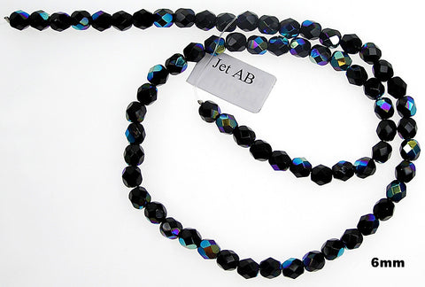 Jet AB, Czech Fire Polished Round Faceted Glass Beads, 16 inch strand