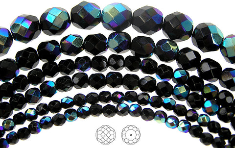 Jet AB coated, loose Czech Fire Polished Round Faceted Glass Beads