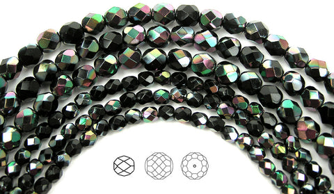 Jet Apricot coated, loose Czech Fire Polished Round Faceted Glass Beads
