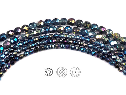 Jet Blue Star Iris (Rainbow Iris), Czech Fire Polished Round Faceted Glass Beads, 16 inch strand