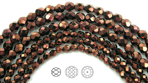 Jet Bronze coated, loose Czech Fire Polished Round Faceted Glass Beads