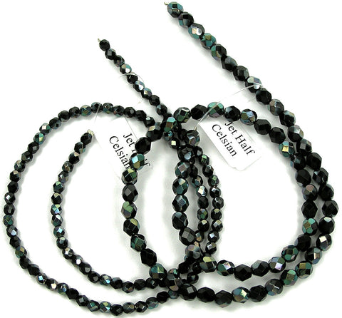 Jet Celsian Half, Czech Fire Polished Round Faceted Glass Beads, 16 inch strand