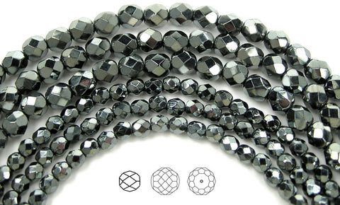 Jet Hematite fully coated, loose Czech Fire Polished Round Faceted Glass Beads, dark metallic silver