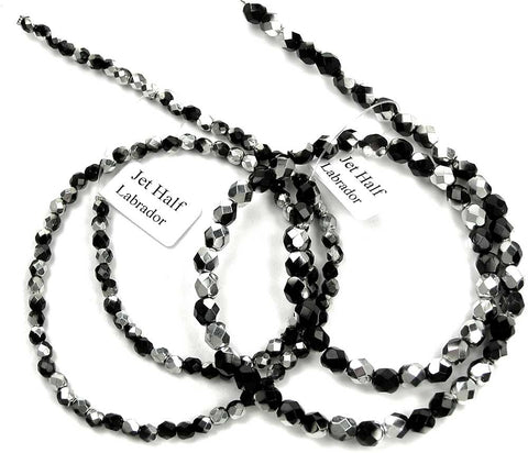 Jet Labrador (CAL) Half, Czech Fire Polished Round Faceted Glass Beads, 16 in strand