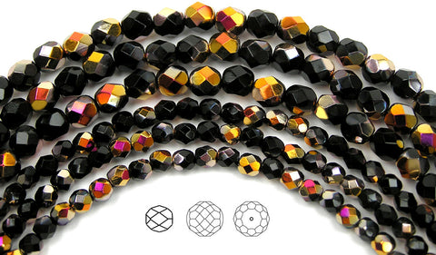 Jet Santander coated, loose Czech Fire Polished Round Faceted Glass Beads